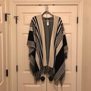Black and white poncho